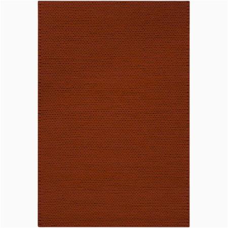 Burnt orange area Rug 8×10 8 X 10 Bright Day solid Burnt orange New Zealand Wool