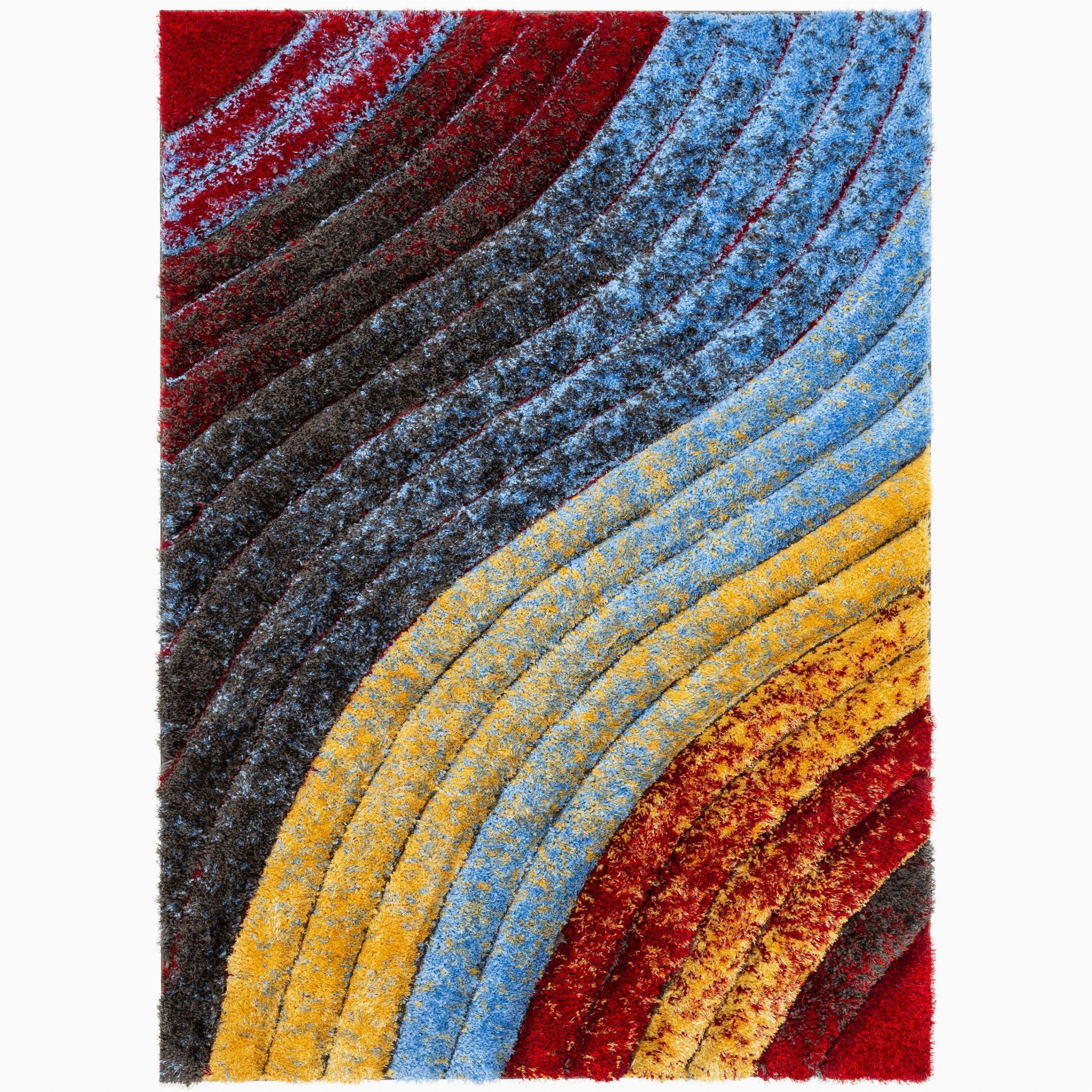 Thick Plush area Rugs 8×10 Well Woven Maura Multi Geometric Stripes Thick soft Plush