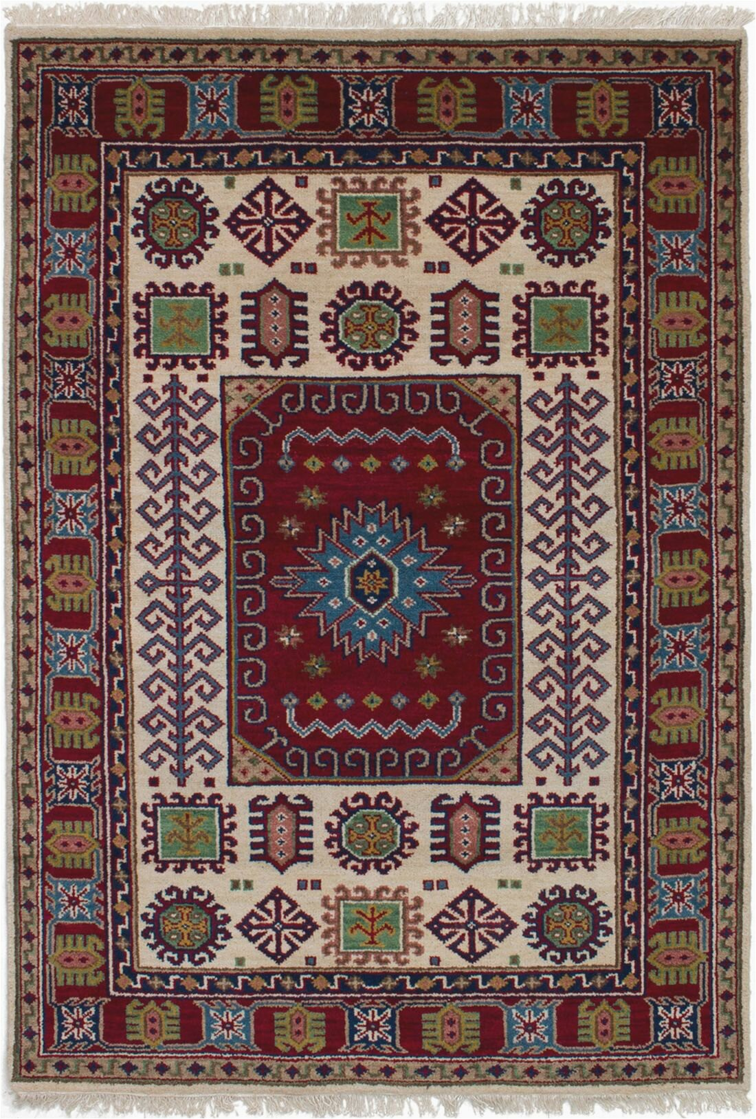 bloomsbury market one of a kind belen hand knotted dark red 48 x 66 wool area rug c