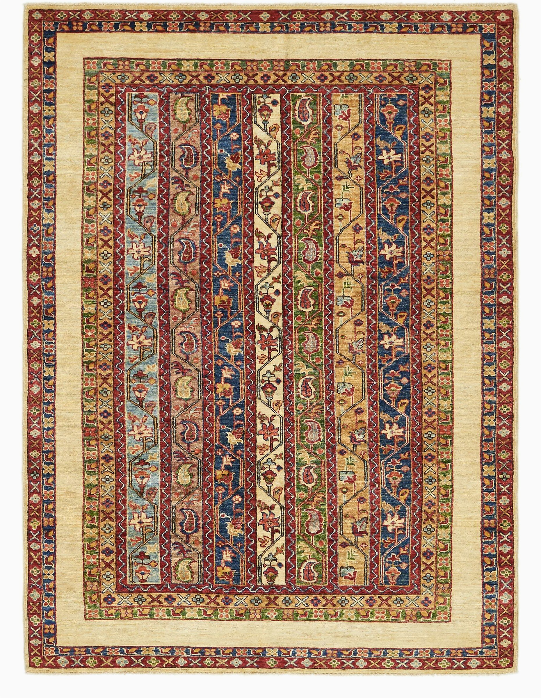 isabelline one of a kind denver hand knotted creambluered 48 x 66 wool area rug vlht3941