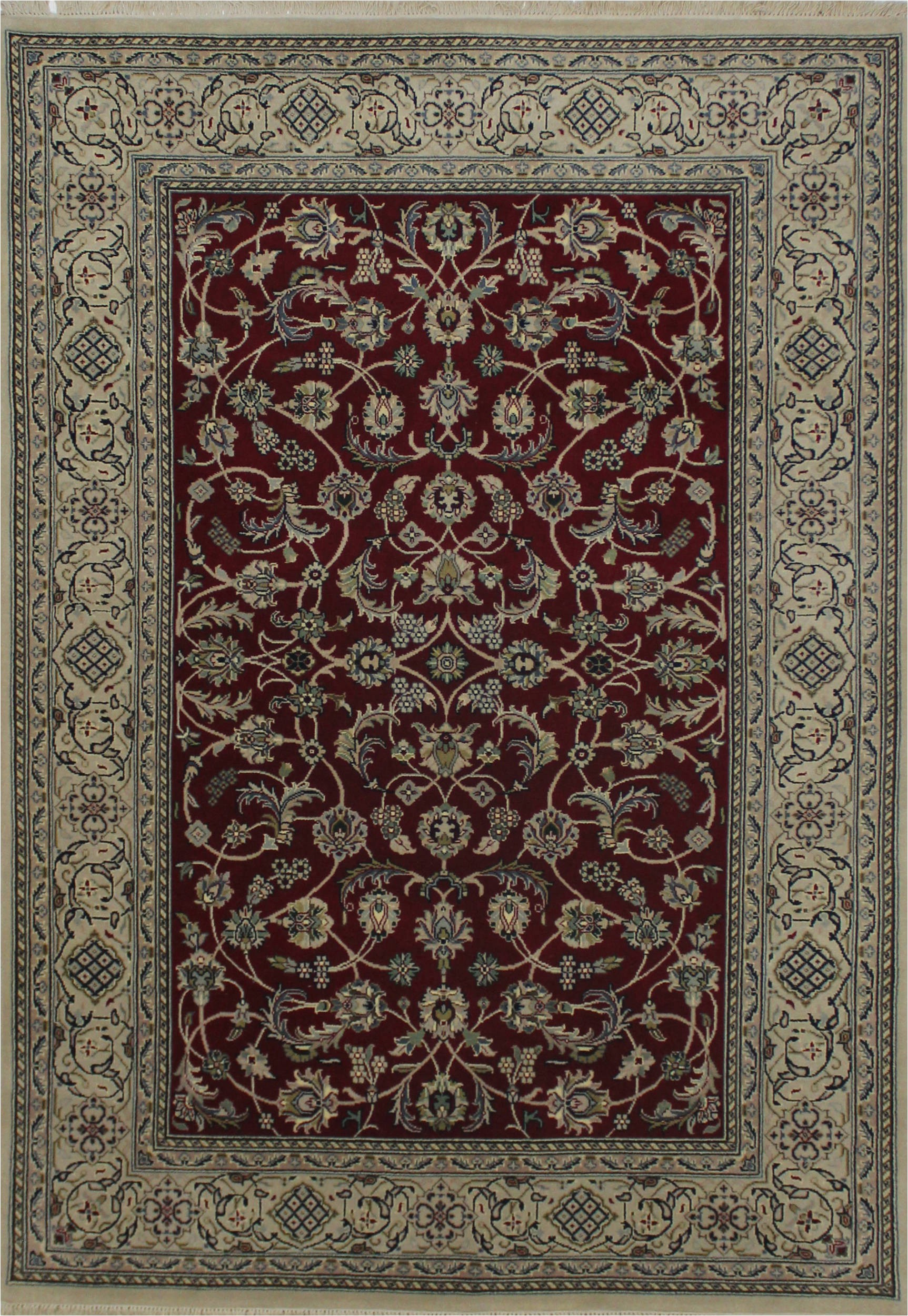 5x8 ft indian hand knotted red wool and silk sku