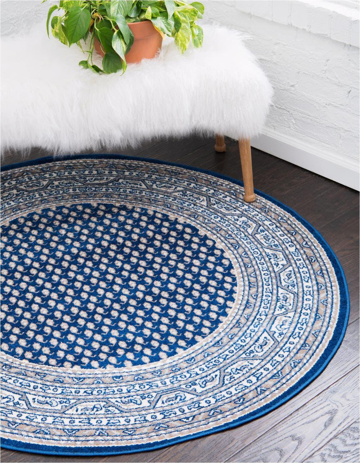 blue 5 ft round soho area rug