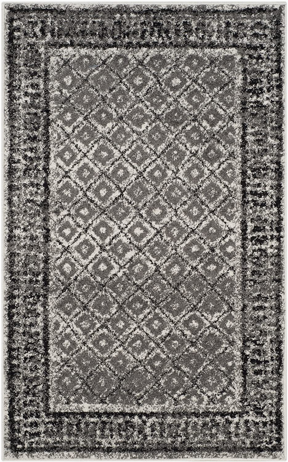 """Adirondack Ivory Silver area Rug Safavieh Adirondack Collection Adr110b Ivory and Silver Vintage Distressed area Rug 2 6"""" X 4"""