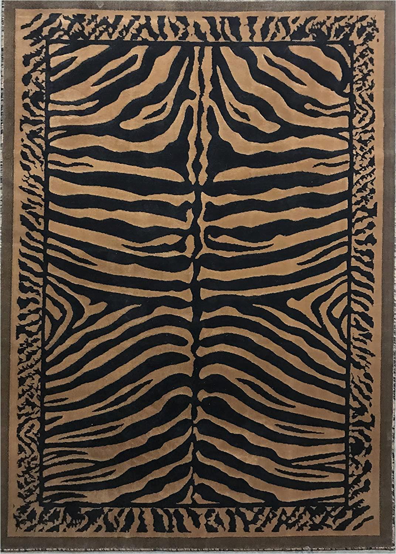 Animal Print area Rug 5×7 Zebra Skin Print area Rug Black & Gold Design D142 5 Feet X 7 Feet