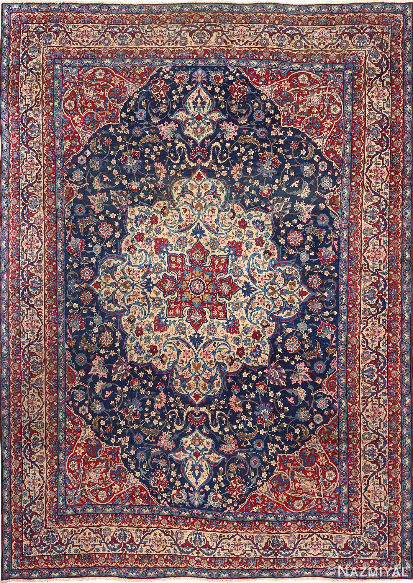 antique blue bakground isfahan persian rug