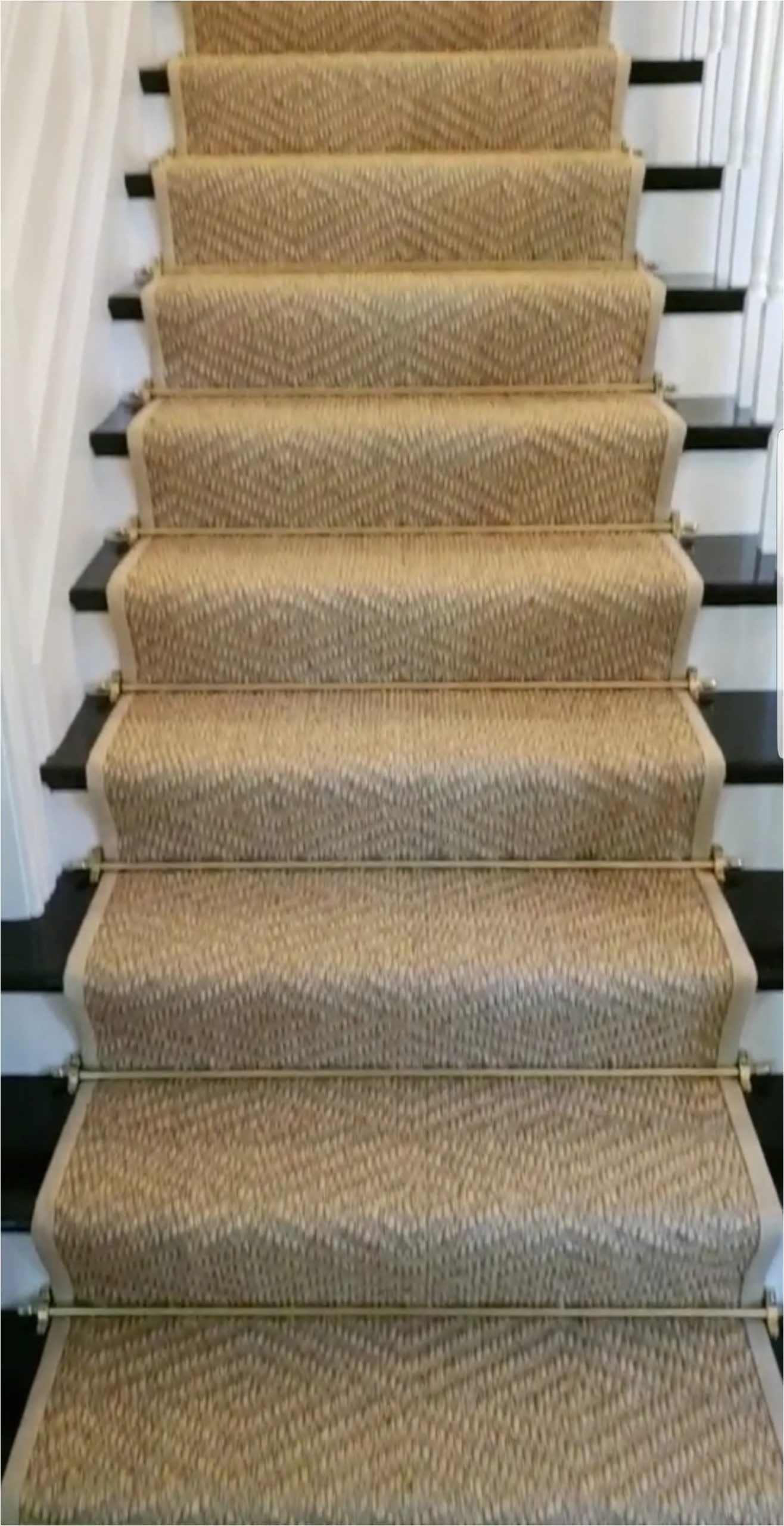 Sissal Stair Runner with Wide Binding and Stair Rods