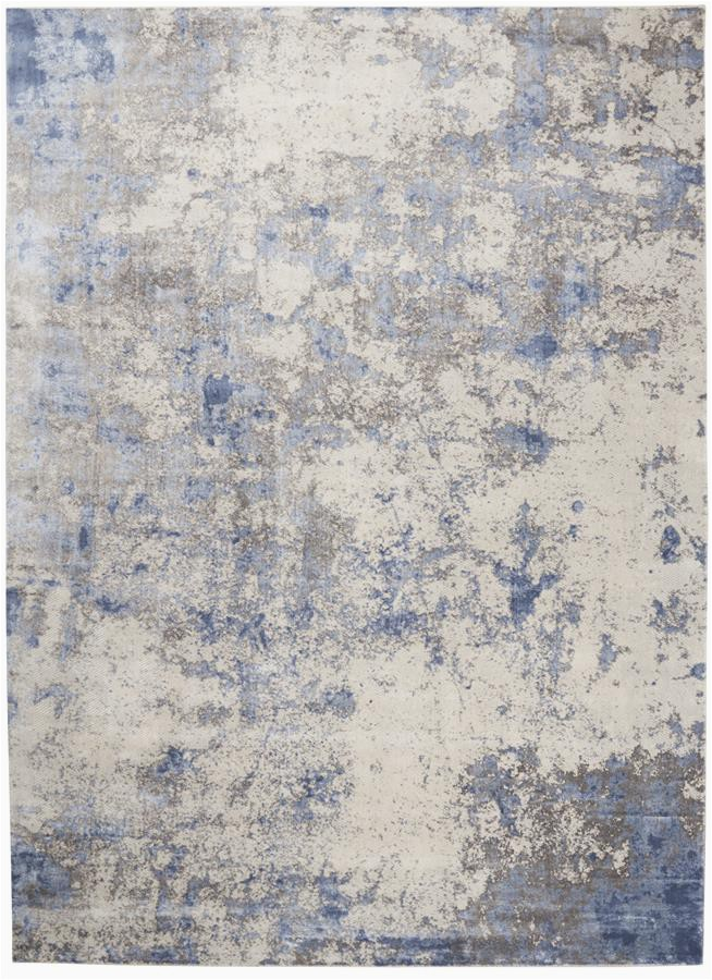Nourison Silky Textures SLY04 BlueIvoryGrey Area Rug p