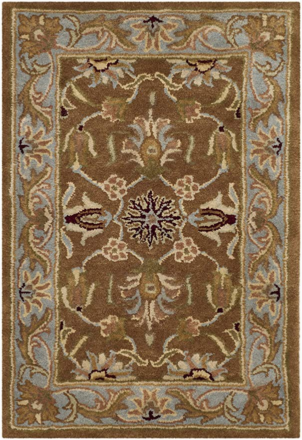 Area Rug Set Of 3 Safavieh Heritage Collection Hg812a Handcrafted Traditional oriental Brown and Blue Wool area Rug 2 X 3