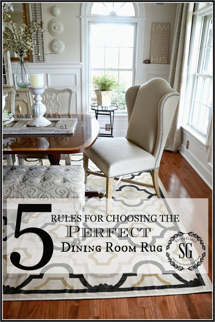 5 RULES FOR CHOOSING THE PERFECT DINING ROOM RUG No nonsense sensibe advice for choosing the right rug stonegableblog