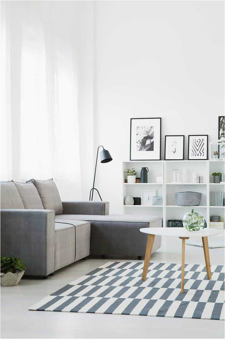 Grey couch standing in front of a table that stands on a patterned rug in modern living room interior with shelves ornaments posters and lamp