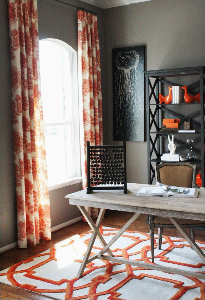 coral colored area rugs rustic home office also area rug bookcase bookshelves collection curtains desk accessories drapes grey wall jellyfish mid century modern orange rustic storage trestle table wall art wall decor window treatments wood flooring