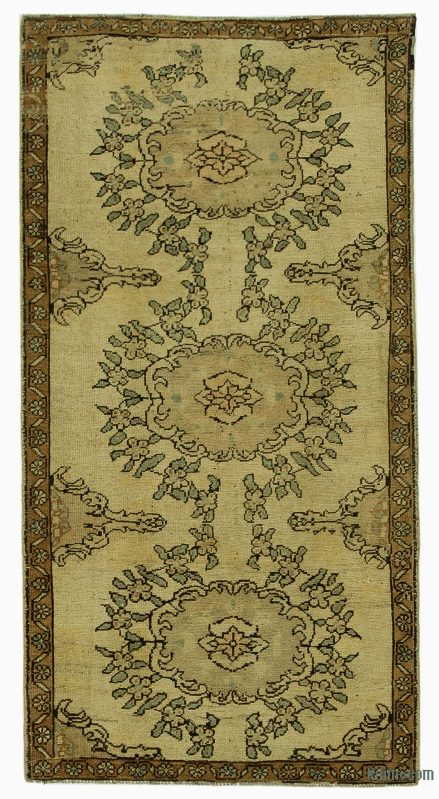 """Area Rugs Beige and Brown Beige Brown All Wool Hand Knotted Vintage area Rug 3 4"""" X 6 6"""" 40 In X 78 In"""