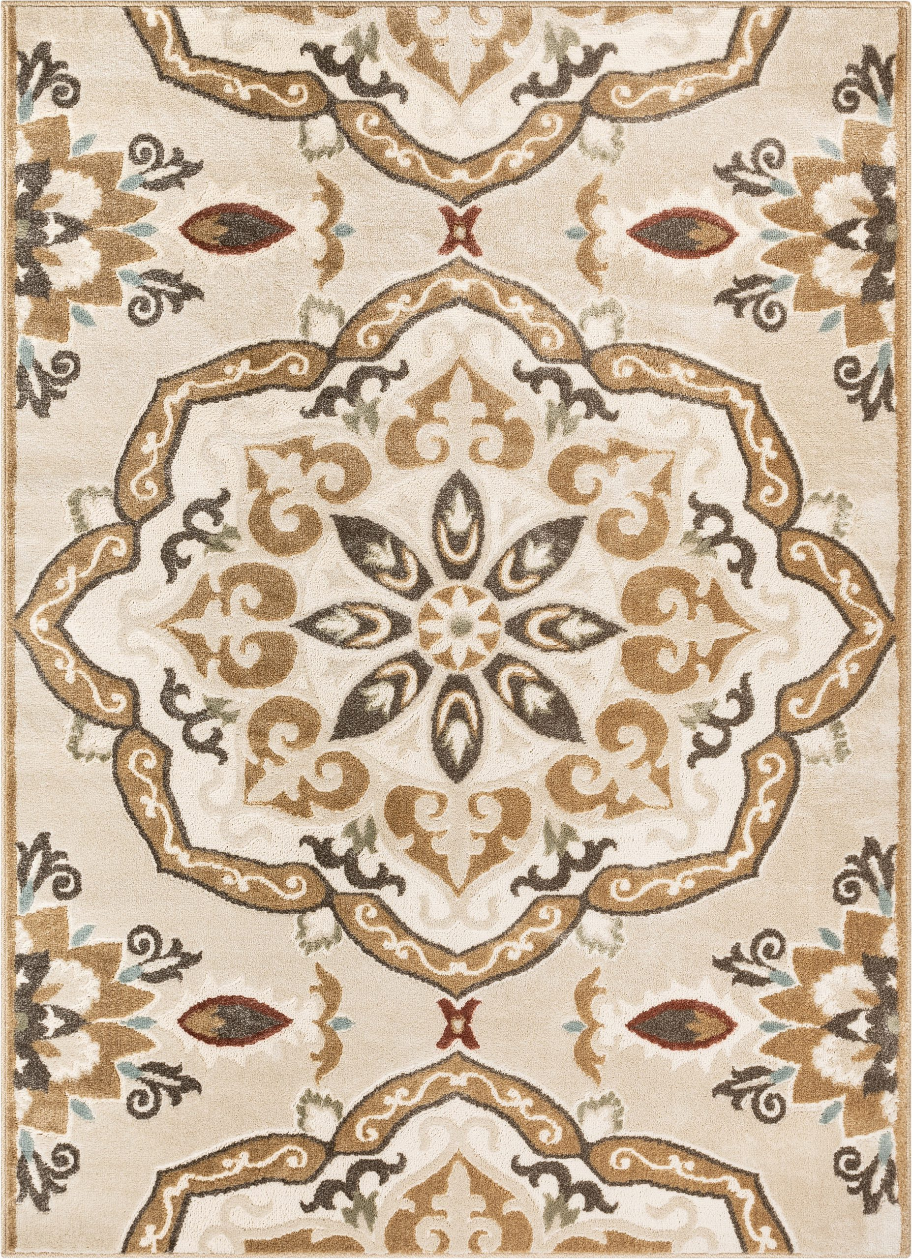 Area Rugs Beige and Brown orchid Dorit Traditional Mandala Beige Brown area Rug