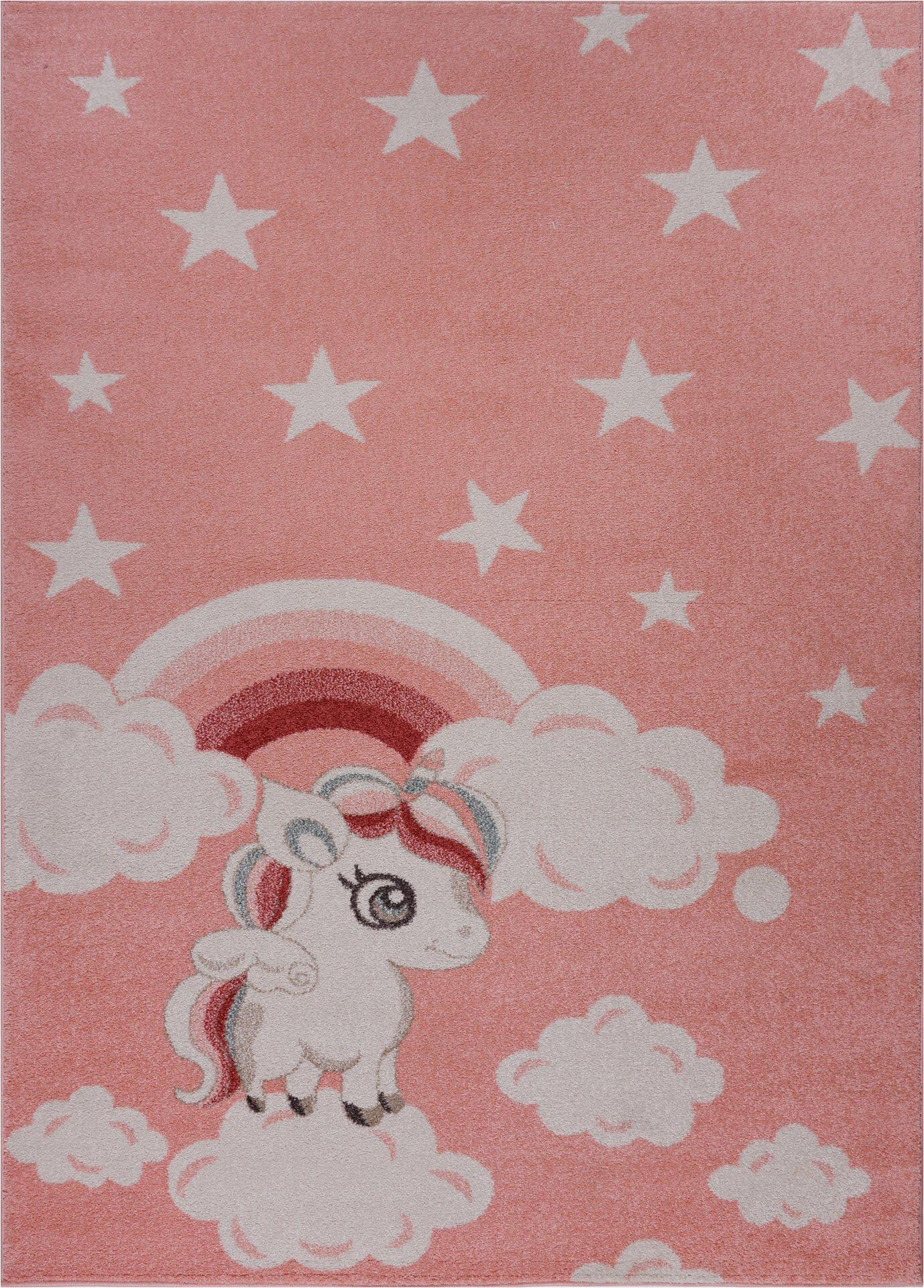 Area Rugs for Baby Boy Room Light Baby Pink soft Cute area Rug Carpet Mat with Unicorn Star Cloud Print for Kids Barbie Little Girl Boy Room Nursery Size 6'7″x9'2″ Feet 200—280