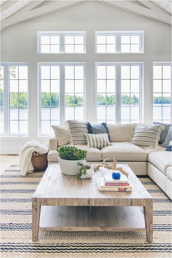 white lake house living room decor 1