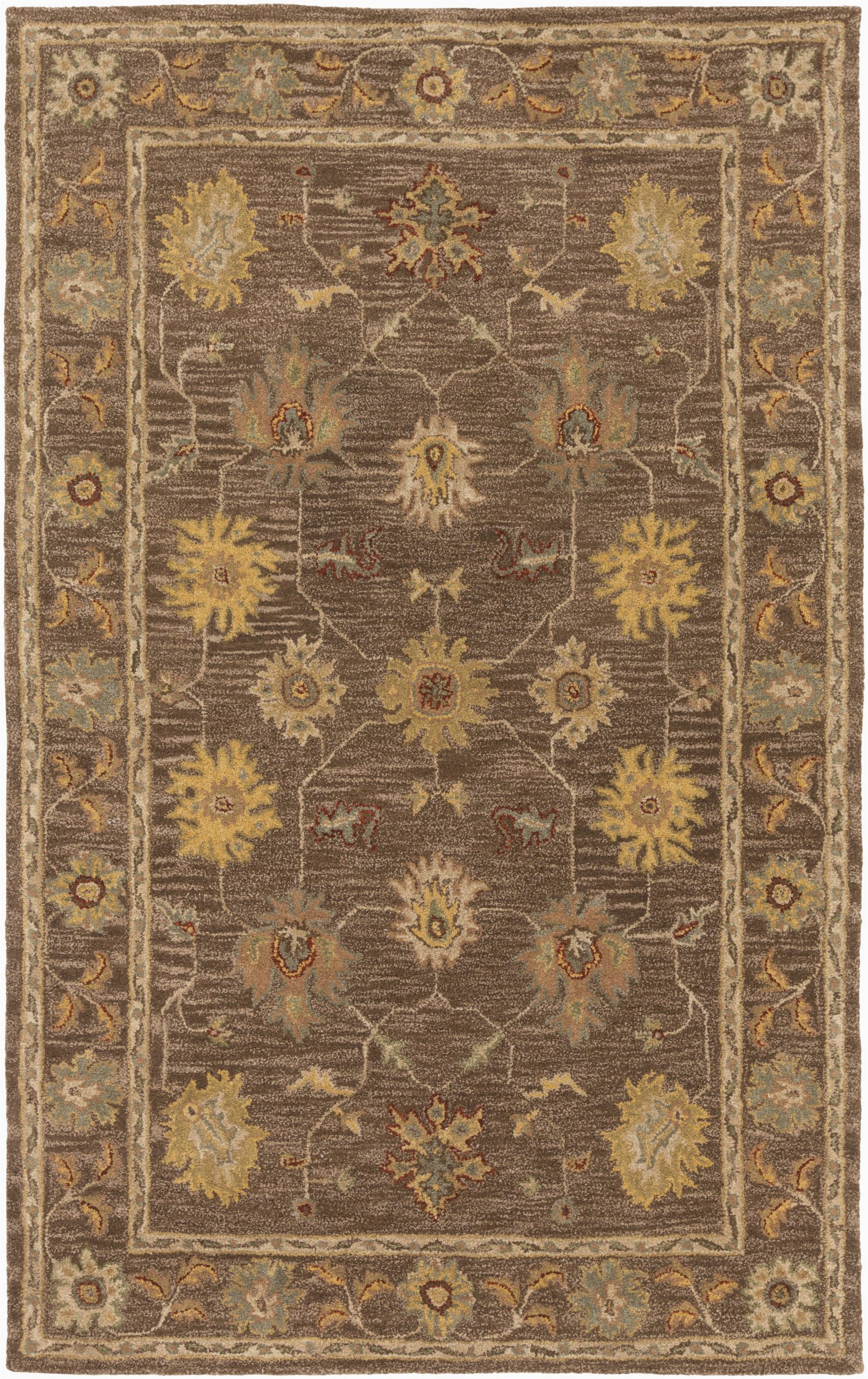 plemmons oriental handmade tufted wool dark browncamel area rug