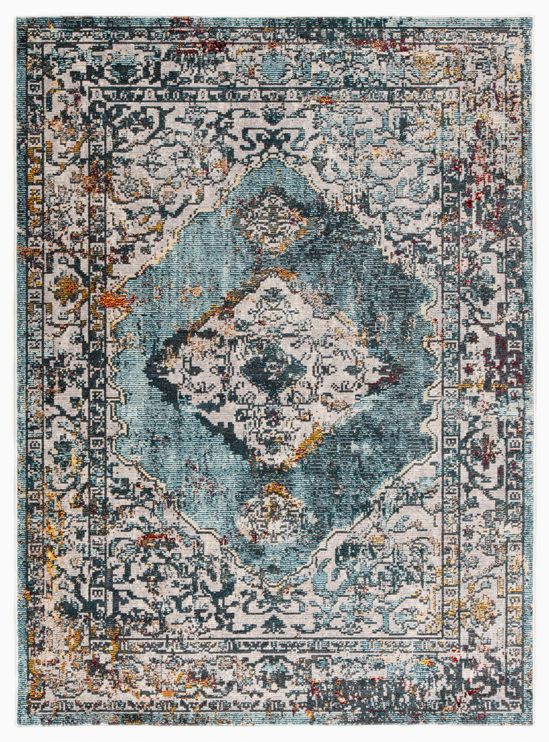 elianna medallion tealcream area rug
