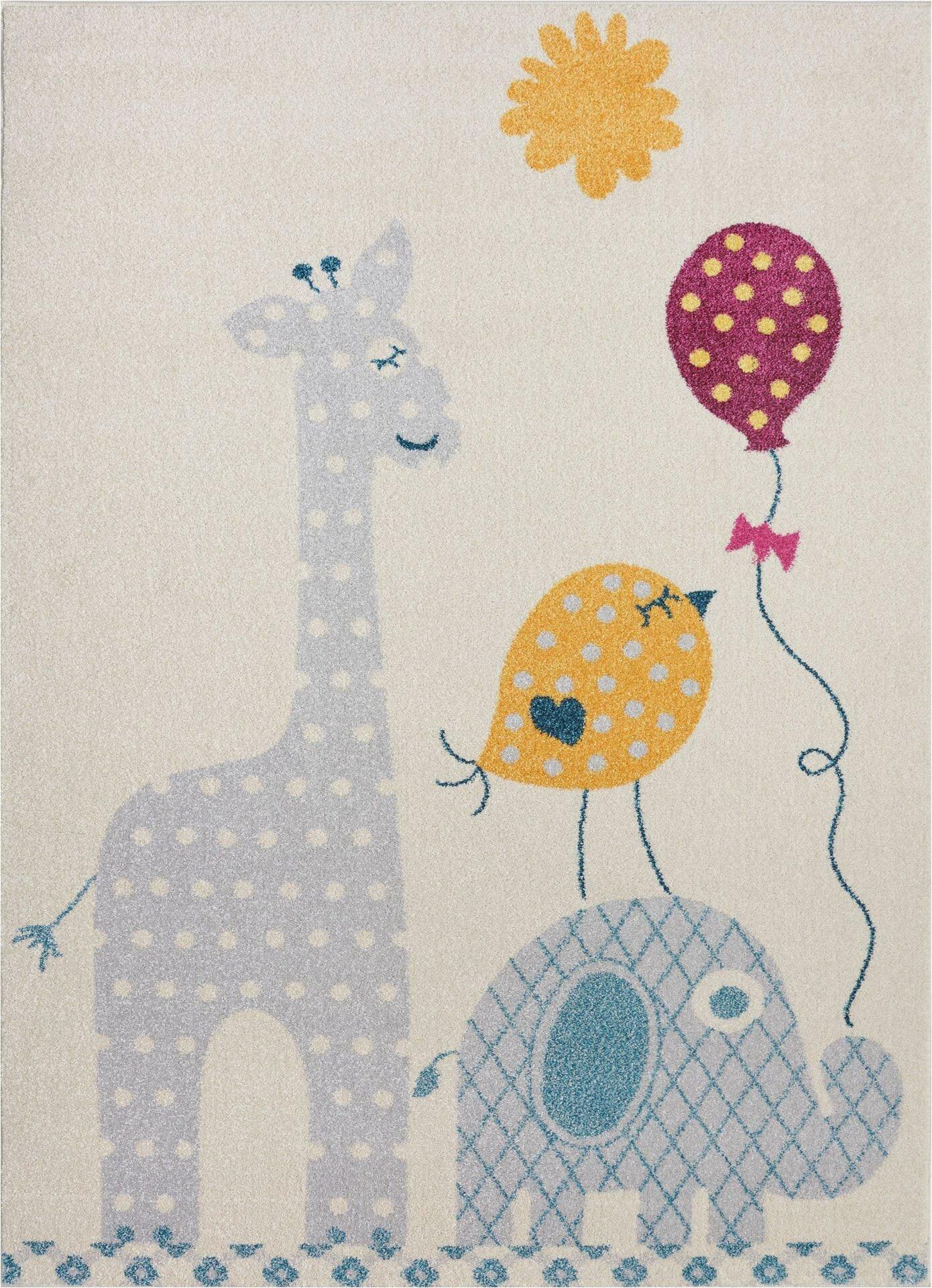 Area Rugs with Animals On them Holliman soft Cute with Baloons Sun Elephant Bird Giraffe Animals Dots Cartoon Gray Indoor Outdoor area Rug