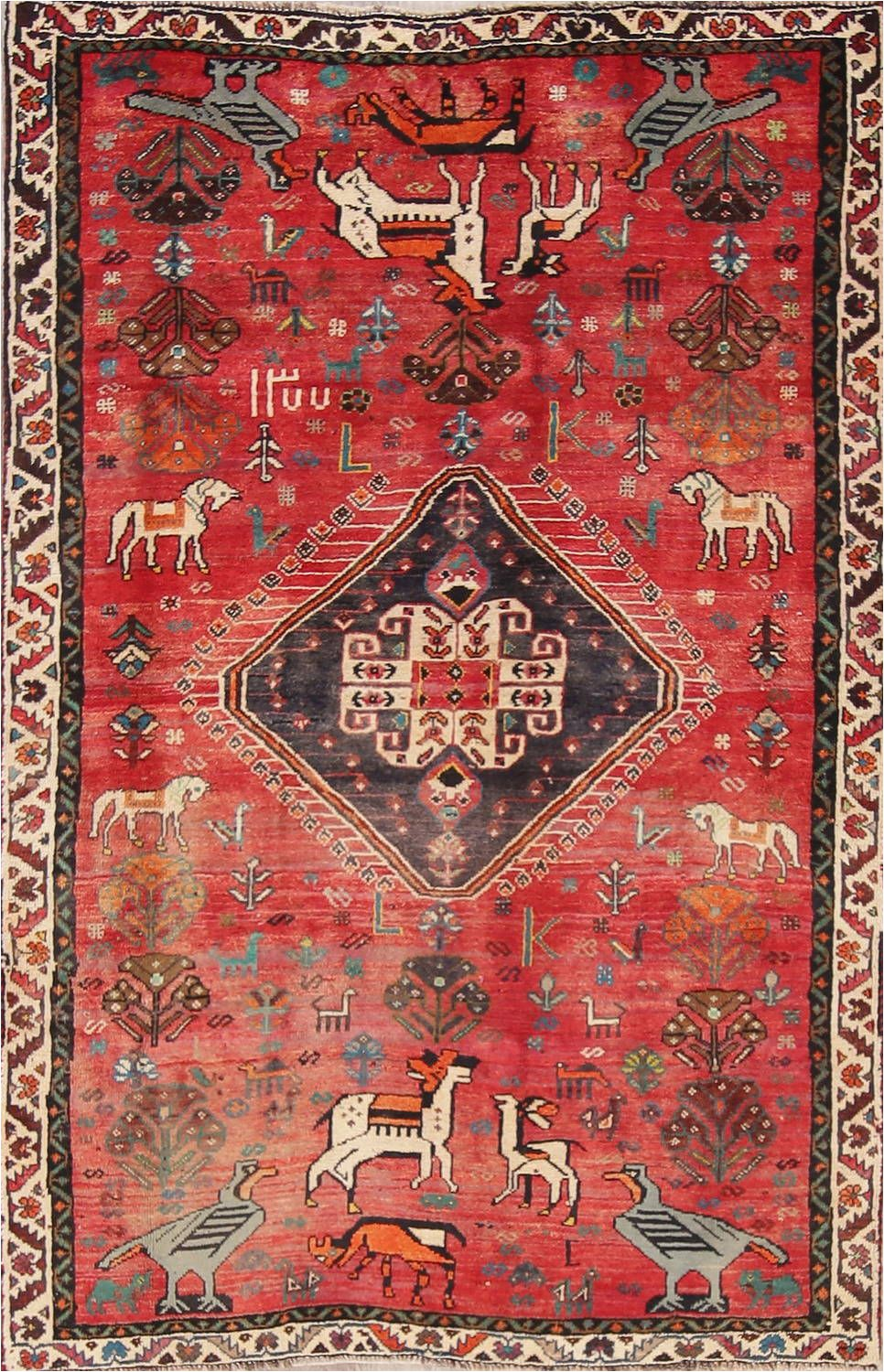 Area Rugs with Animals On them Red Animal Pictorial Kashkoli Persian area Rug 4×7