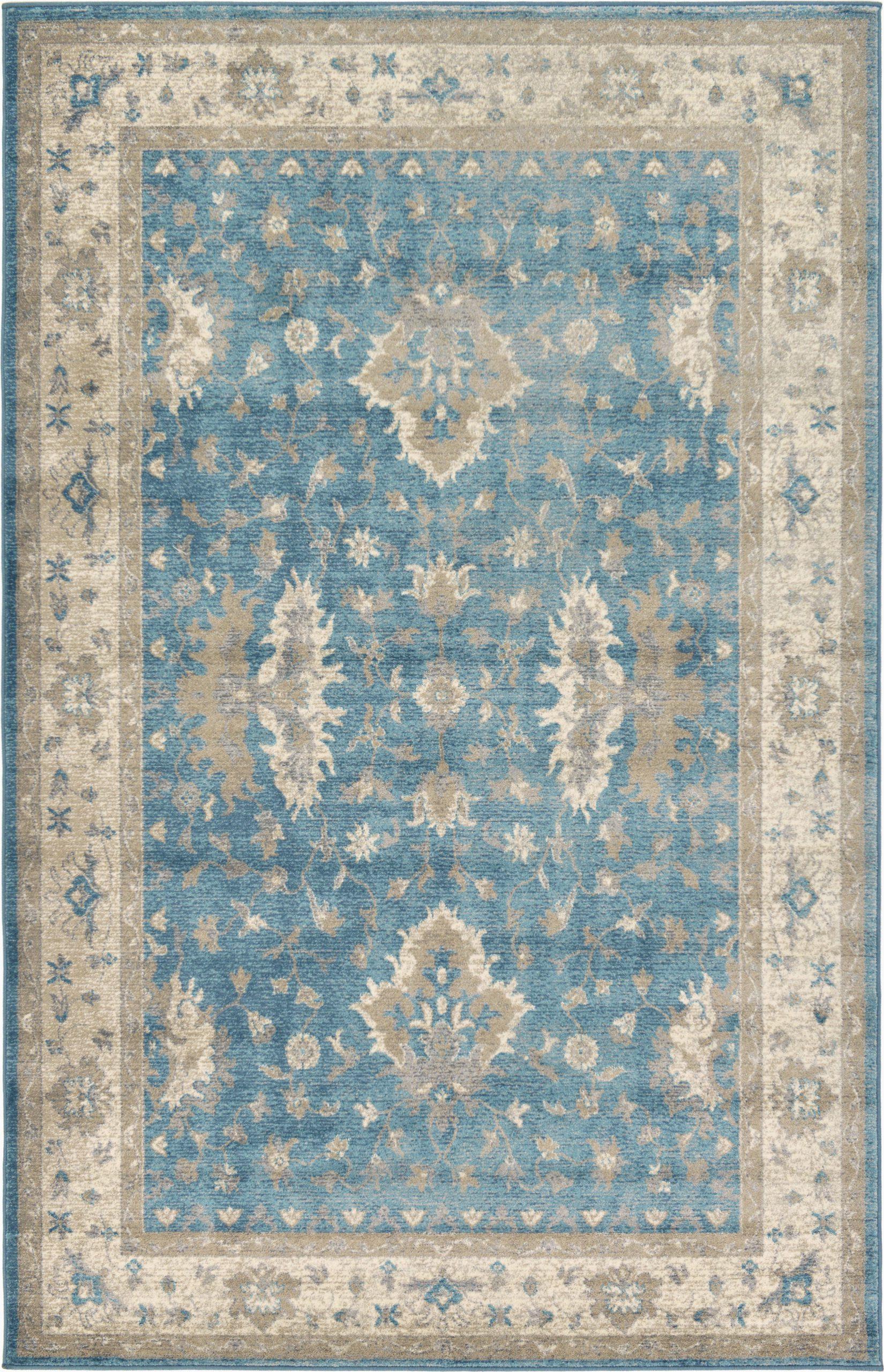 oriental light bluegray area rug