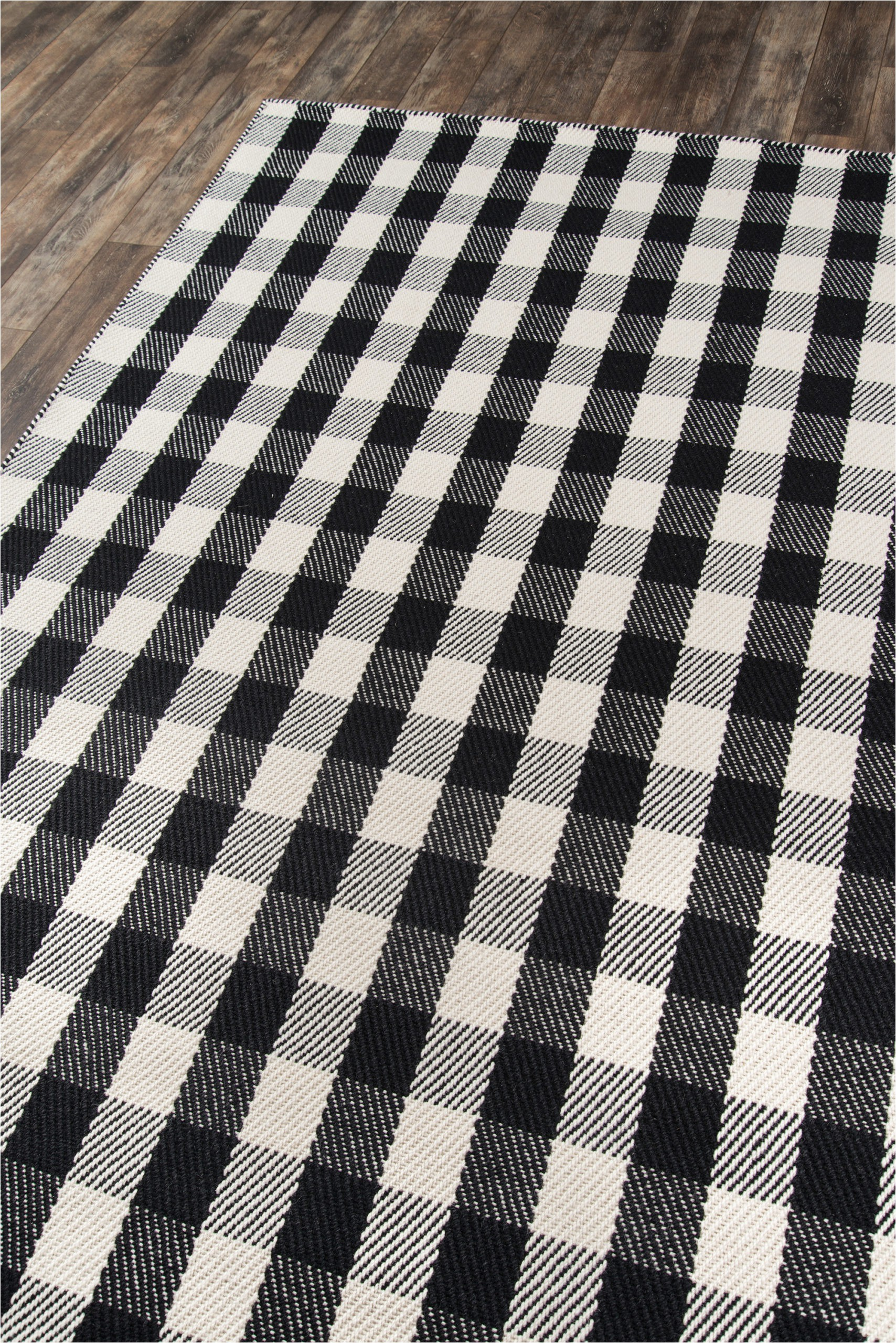 "Black and White Plaid area Rug ""a Scotch Please"" Black White Plaid Wool area Rug"