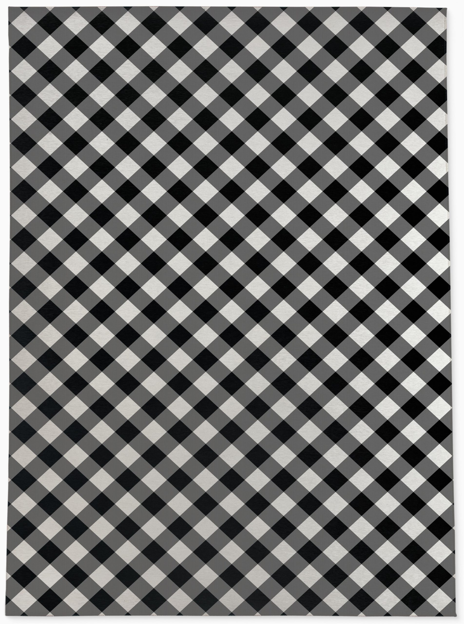 graff plaid blackwhite area rug