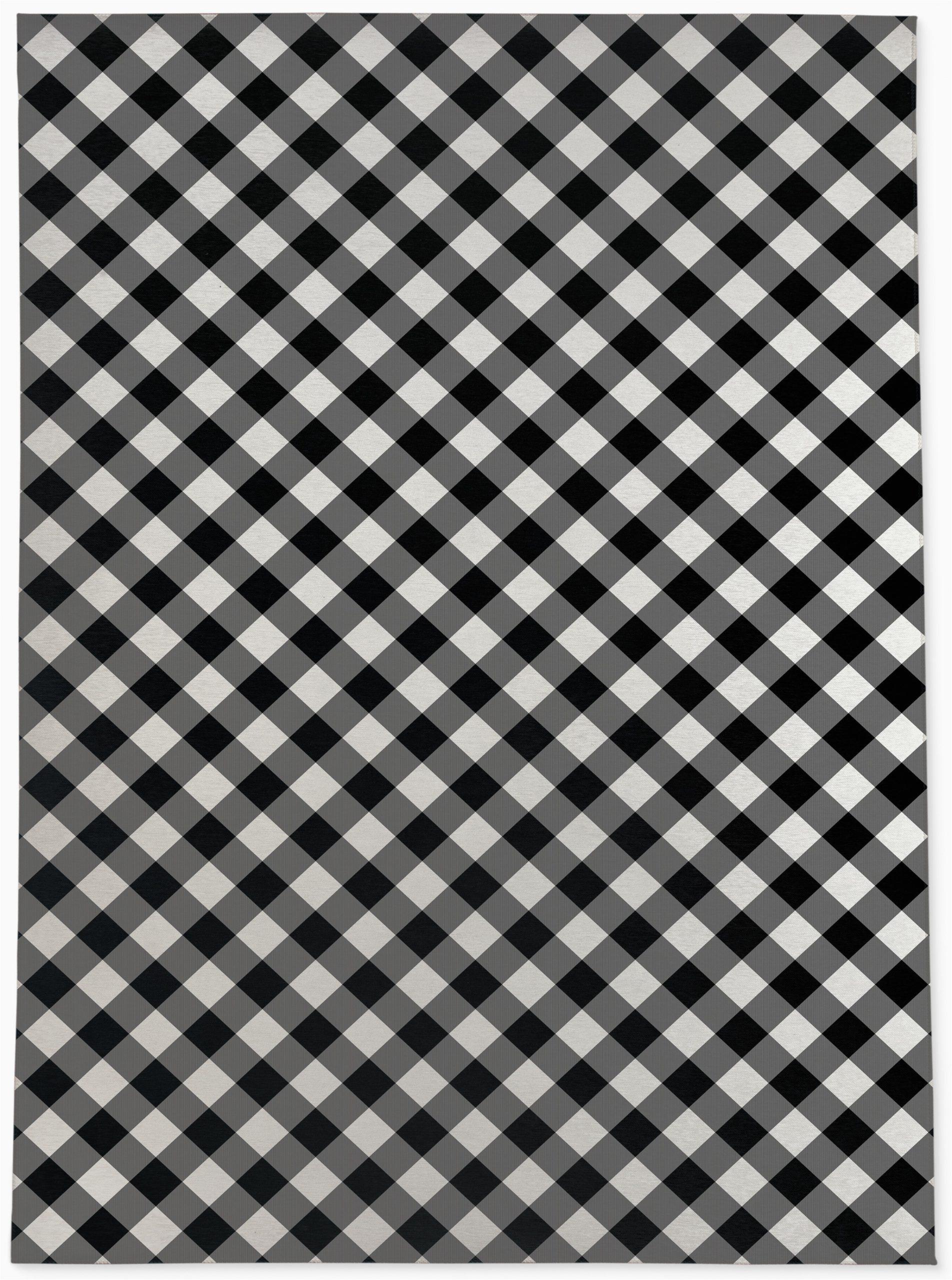 graff plaid blackwhite area rug