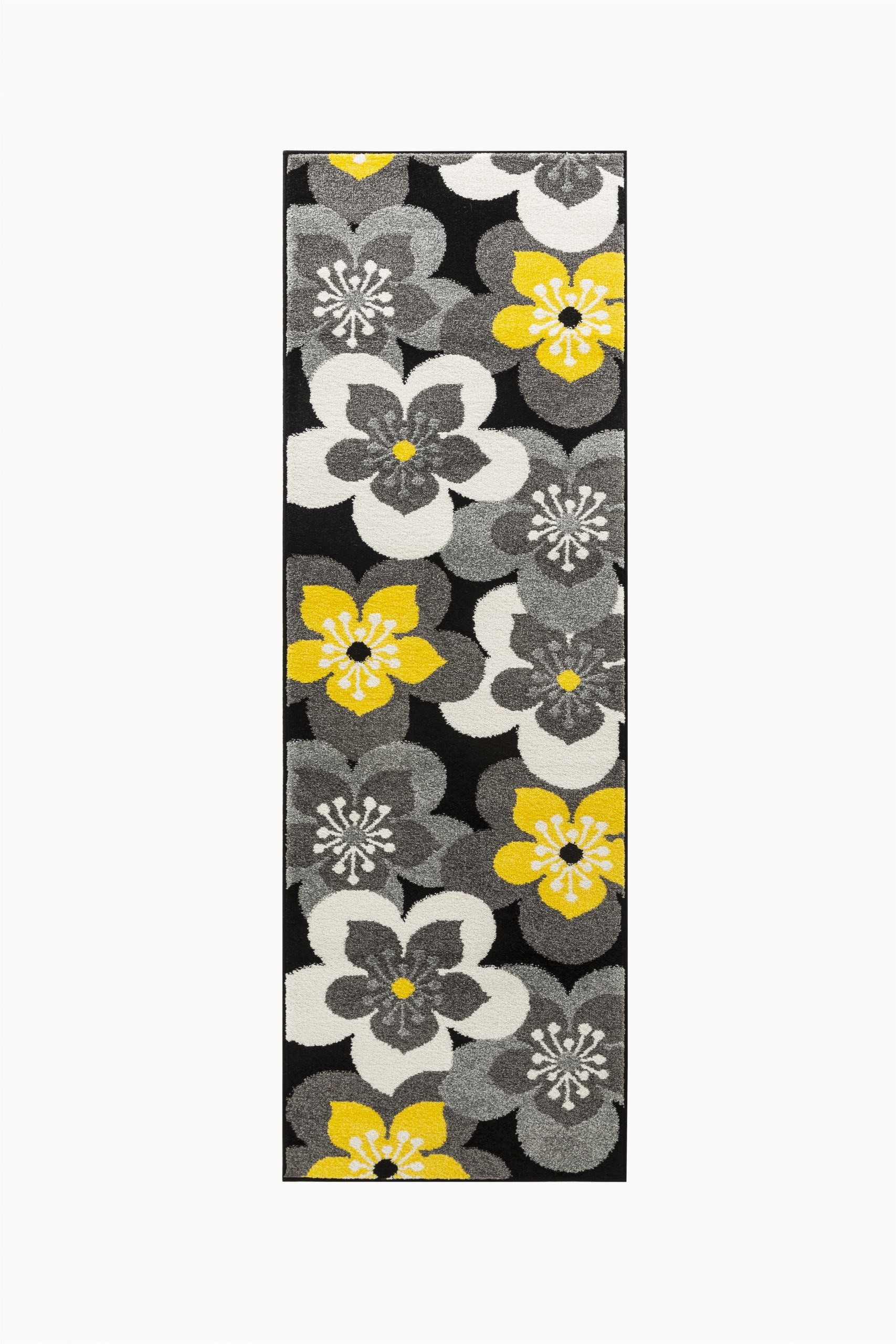 Black Grey and Yellow area Rug Oxford Collection Rugs Yellow Black Grey White Modern Floral Design Premium soft area Rug 2 X7 Runner Walmart