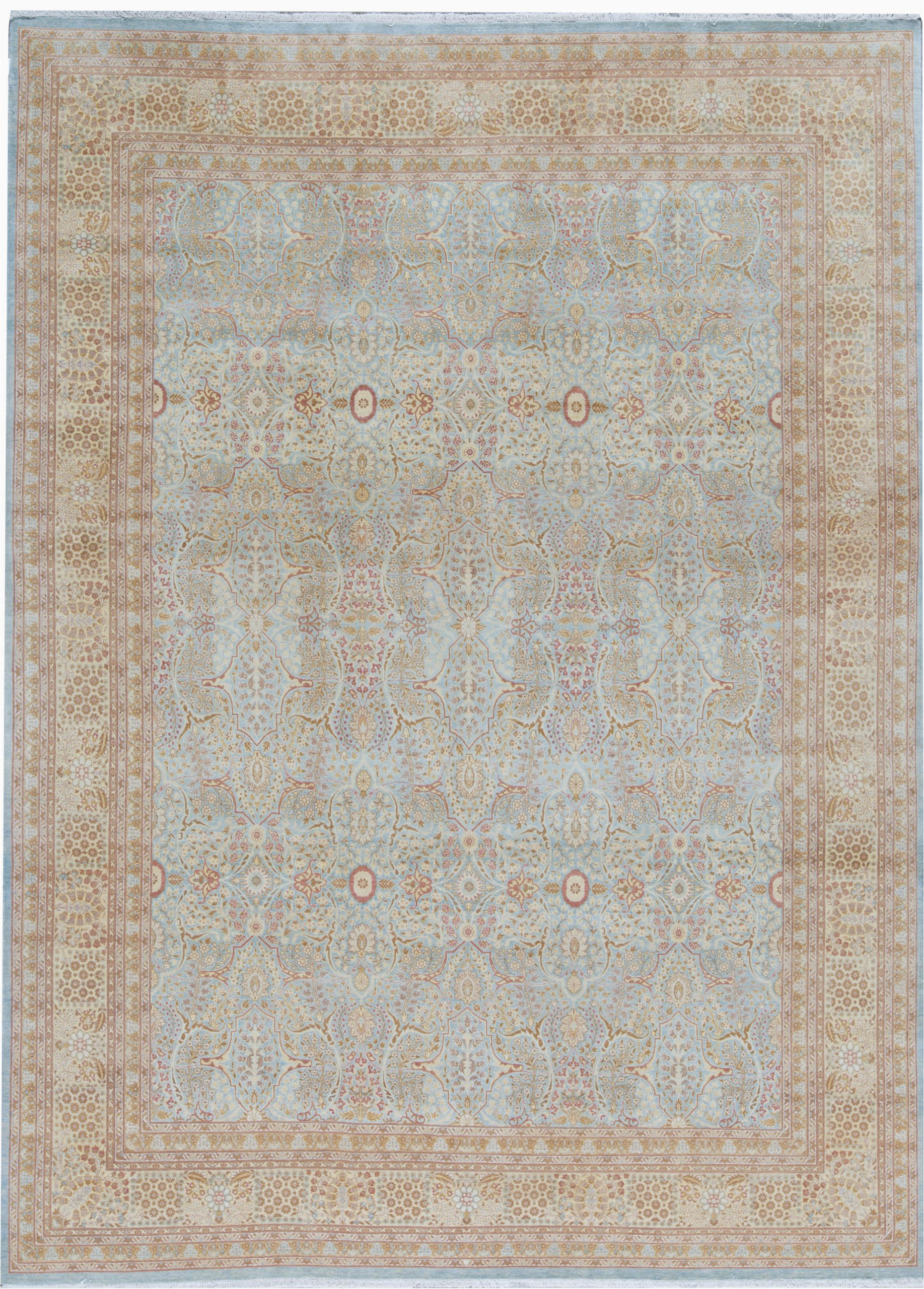 oriental hand knotted wool light bluecream area rug