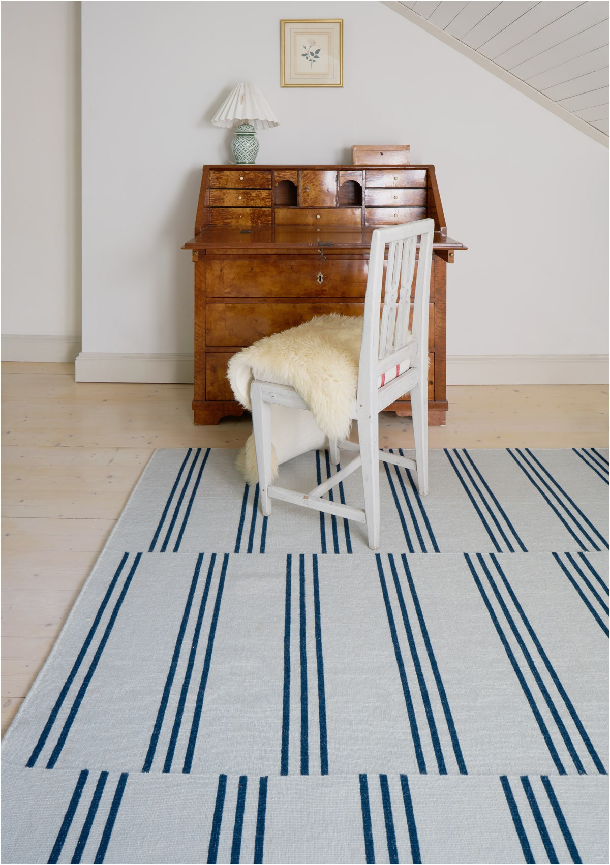 Blue and Cream Striped Rug Stripes Ice Blue
