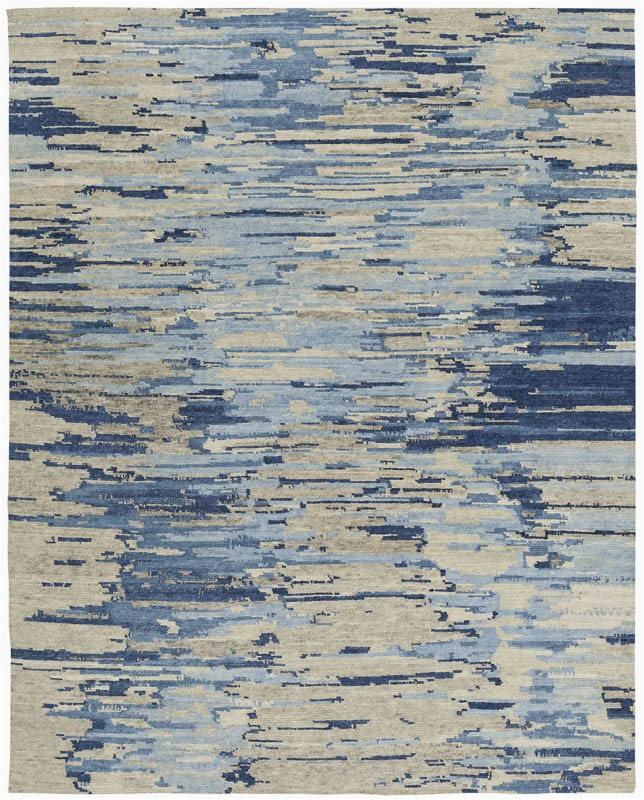 KAN138B Tibetan Vibrations Blue Gray Wool Rug Nepal 1