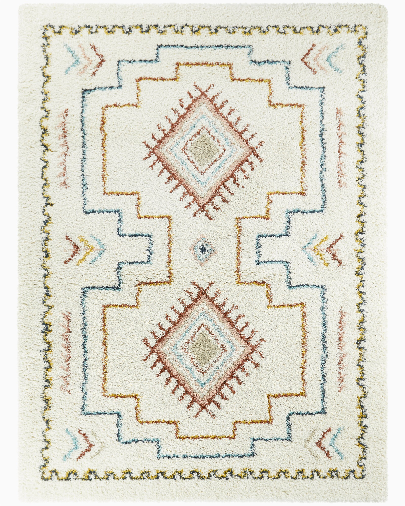 enright tribal moroccan shag redblueoff white area rug