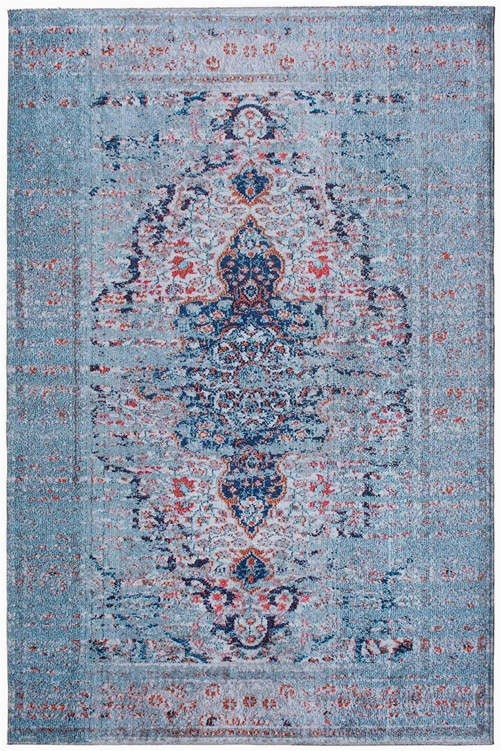 Blue and White Patterned Rug Machine Washable Distressed area Rug