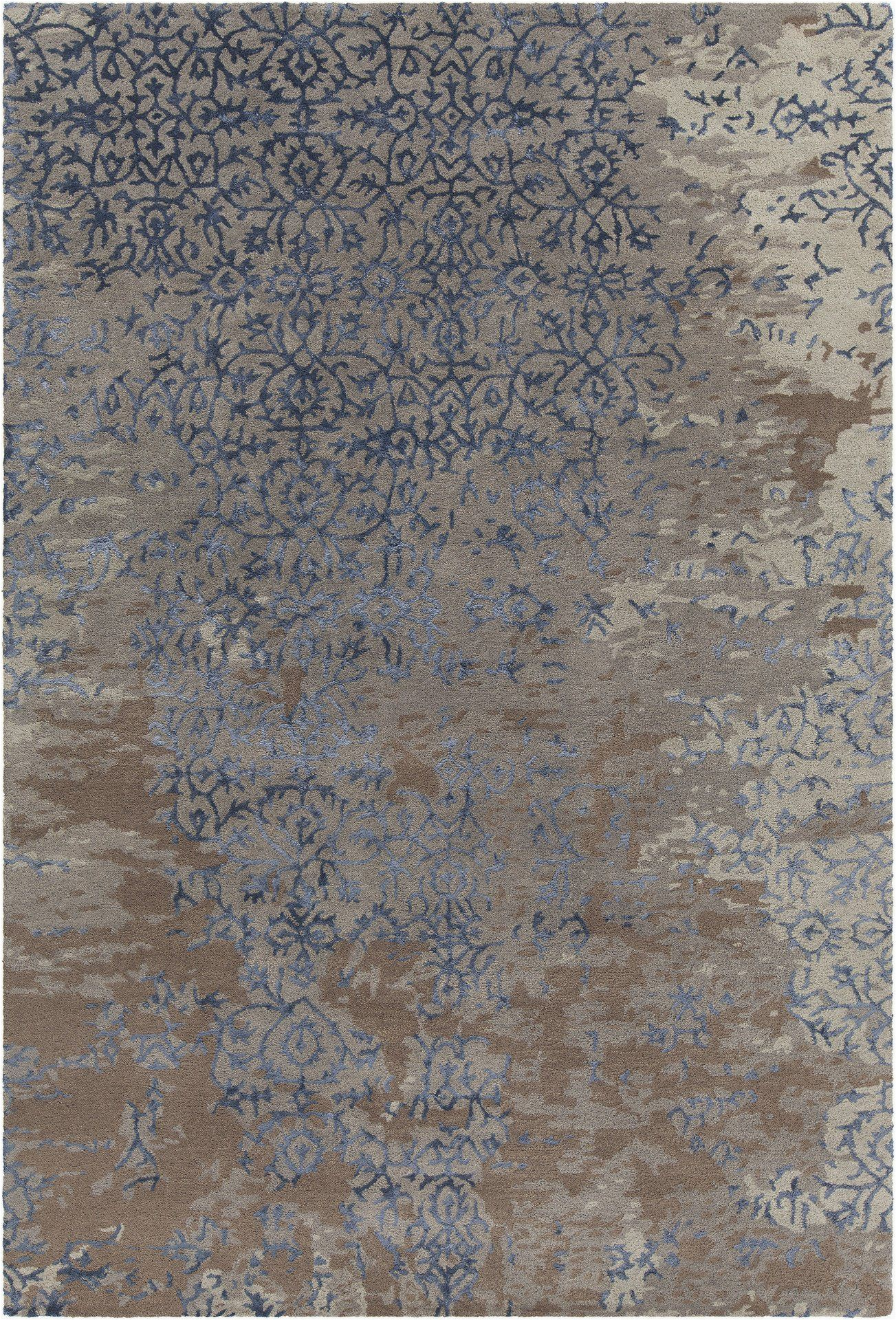 Blue Gray and Brown area Rug Rupec Collection Hand Tufted area Rug In Grey Blue & Brown