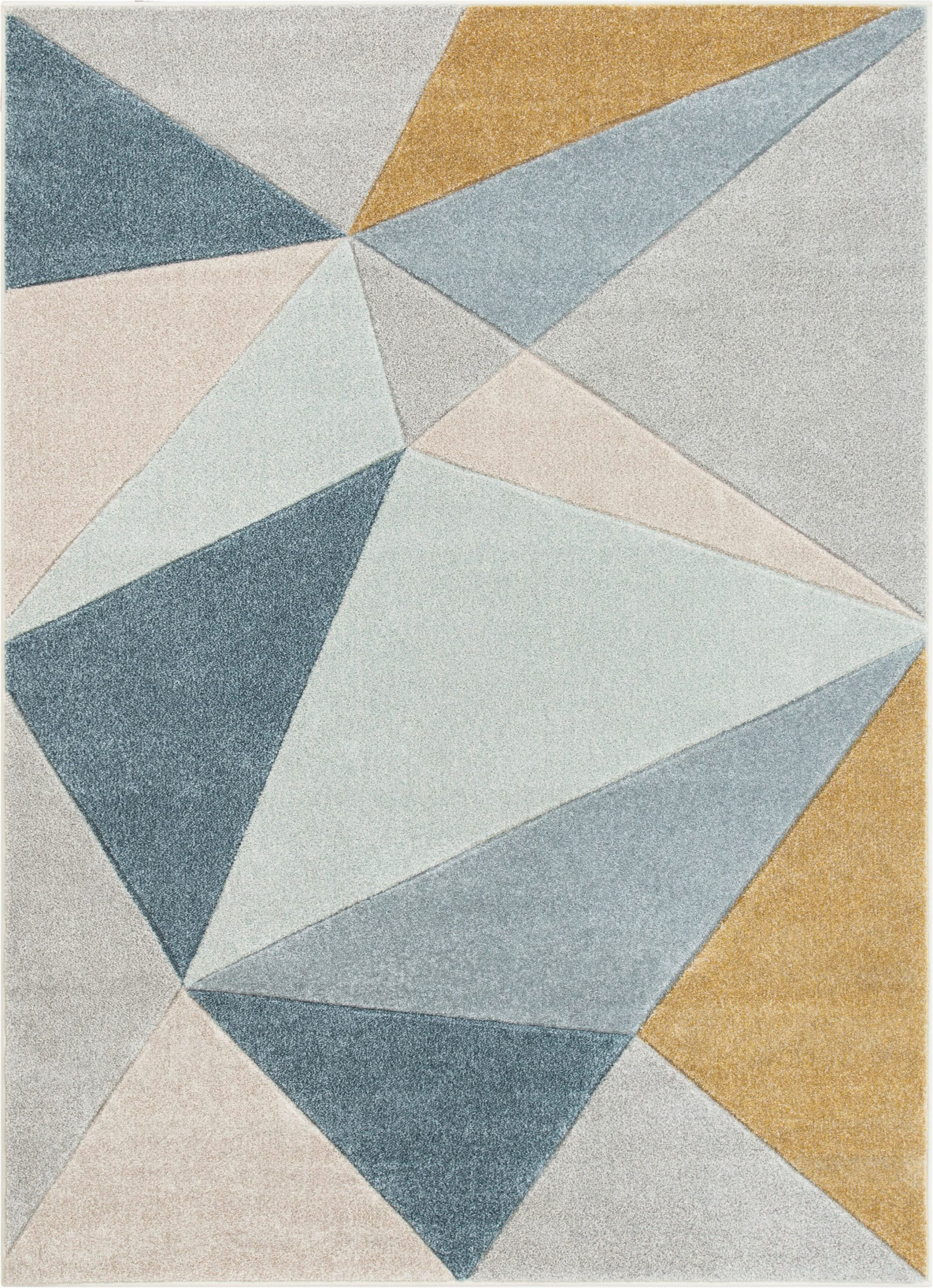 ruby tamara mid century modern abstract geometric teal bluegraygold area rug