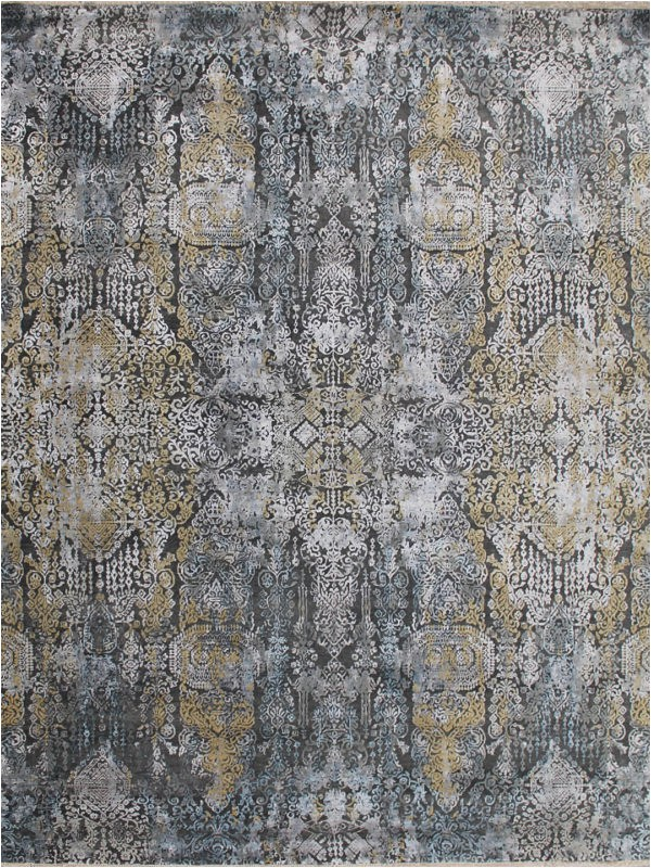 Salzburg Grey Blue Gold handknot the rug collection OH 600x800