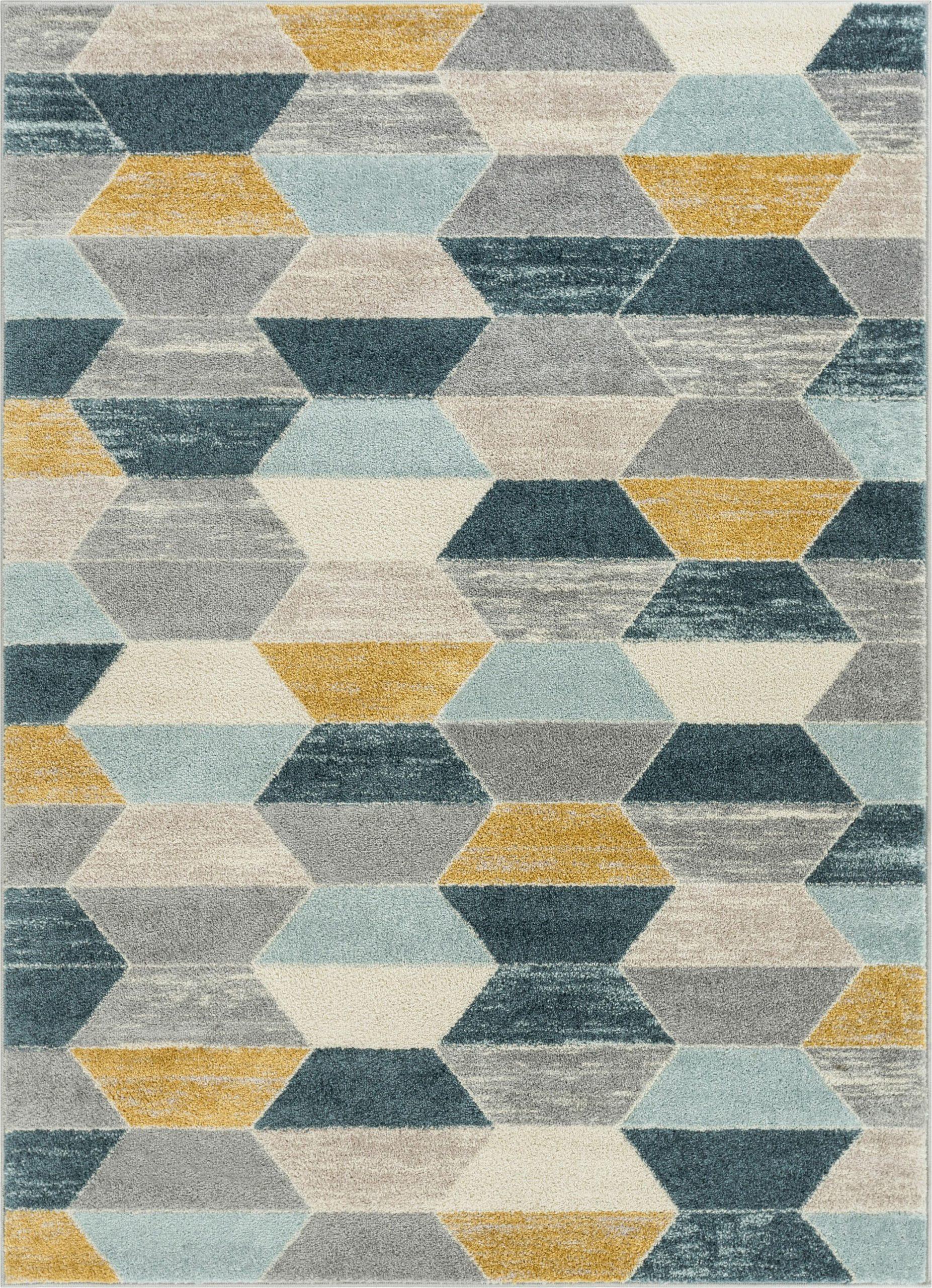 mystic modern vintage geometric bluegray area rug