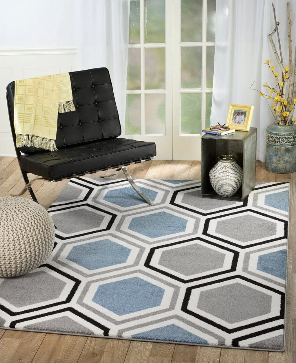 """Blue Grey and White area Rug Rio Summit 313 Grey Blue White area Rug Modern Geometric Many Sizes Available 5 X 7 2"""" 5 X 7 2"""""""