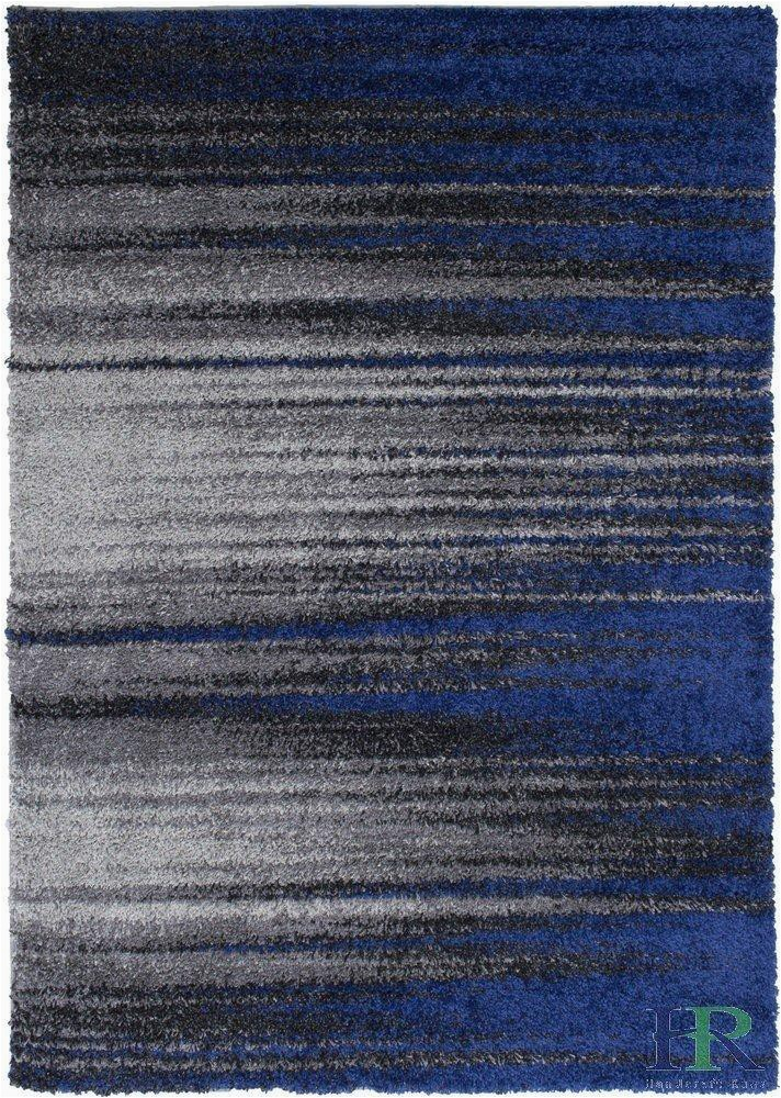 Blue Grey and White area Rug Shed Free Shaggy area Rugs Contemporary Abstract Brush
