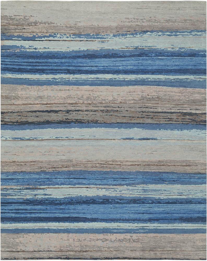KAN200C Tibetan Koshi Blue Grey Wool Rug Nepal 1