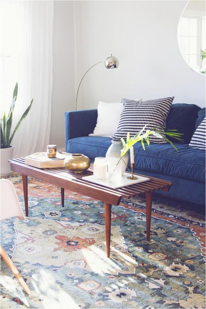 modern living room makeover blue velvet sofa before and after 21 682x1024 1