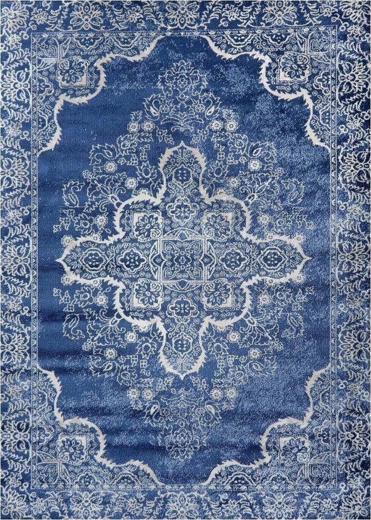 Blue oriental Rugs 8×10 5259 Blue Medallion Distressed oriental area Rugs