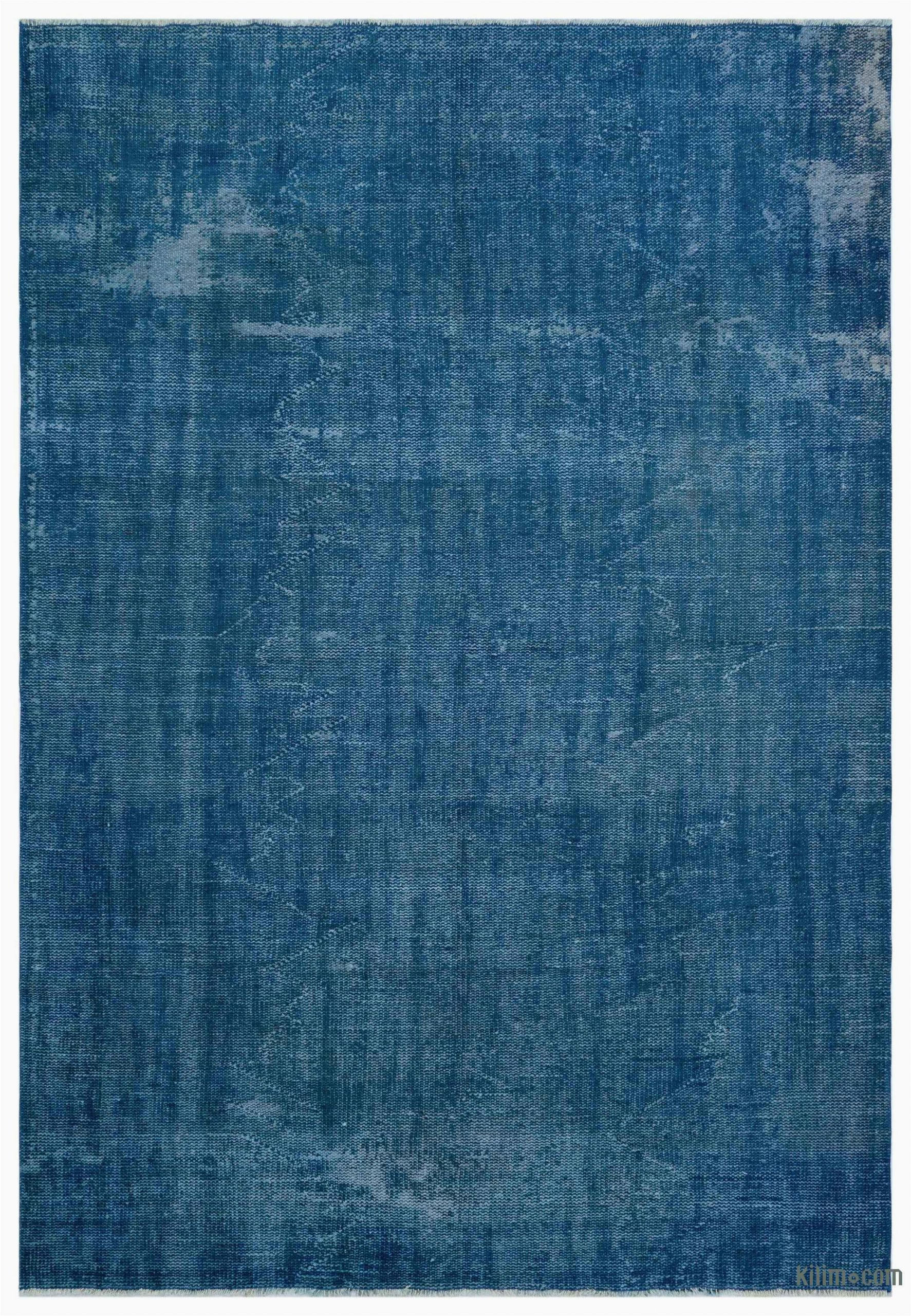 "Blue Overdyed area Rug Blue Over Dyed Turkish Vintage Rug 6 X 8 9"" 72 In X 105 In"