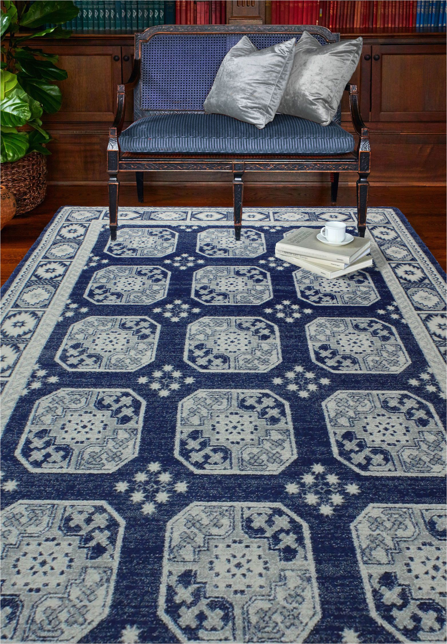 "Blue Transitional area Rugs Nancy Rug Color Dark Blue Size 3 6"" X 5 6"