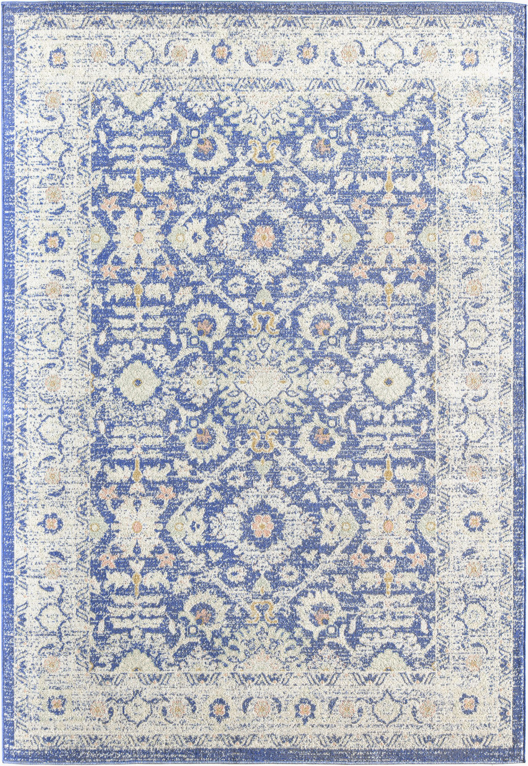 Blue Transitional area Rugs Reva Transitional Blue Gray Indoor Outdoor area Rug