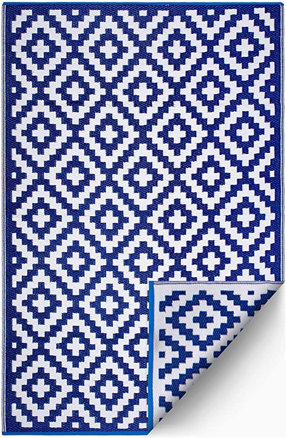 Blue White Outdoor Rug Fh Home Indoor Outdoor Recycled Plastic Floor Mat Rug Reversible Weather & Uv Resistant Aztec Blue & White 6 Ft X 9 Ft
