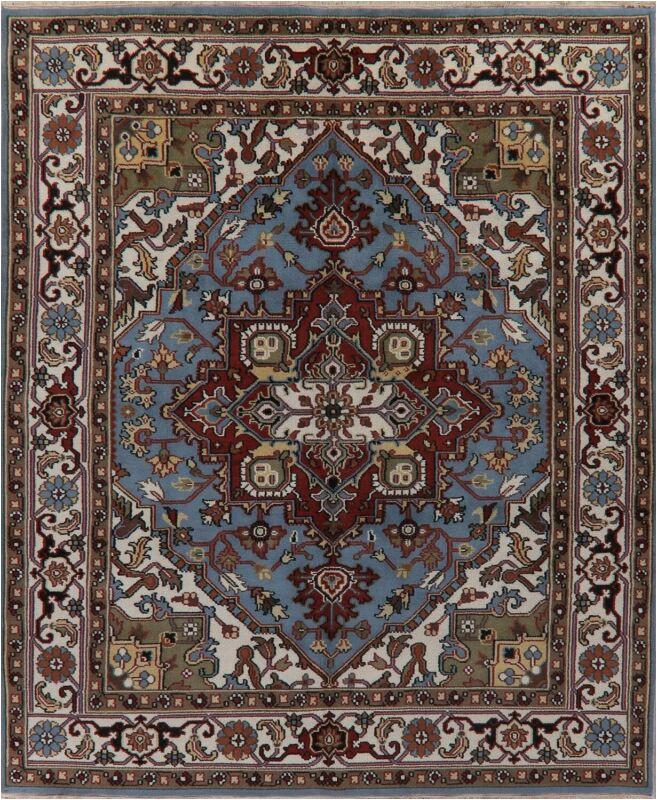 light blue area rugs 8x10 hand made vintage style indo heriz oriental wool rug