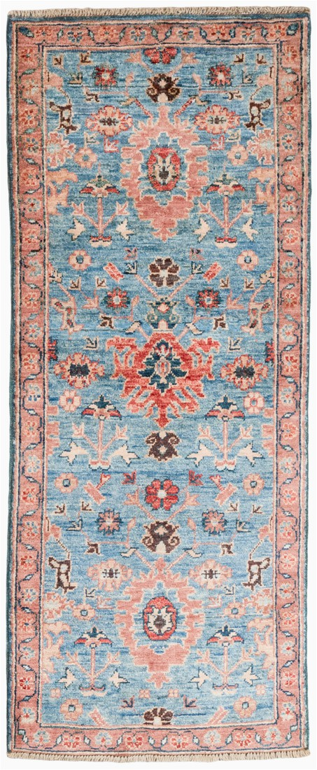Bakshaish Blue Wool Short Runner Rug 20x410 Afghanistan 1