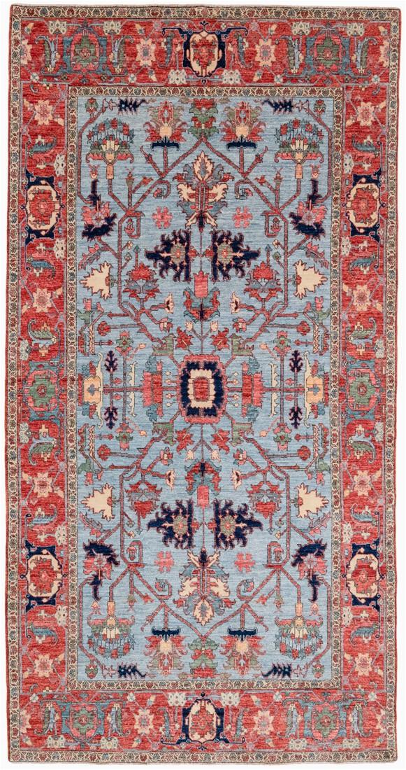 Luxe Tribal Serapi Blue Wool Wide Runner Rug 58x1011 Afghanistan 1
