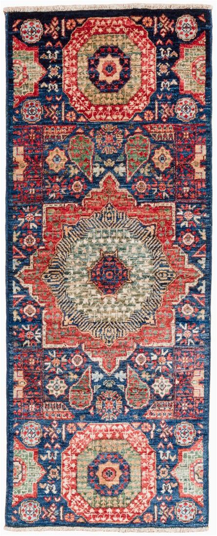 Mamluk Ve able Dyed Navy Blue Wool Short Runner Rug 111x411 Afghanistan 1 1